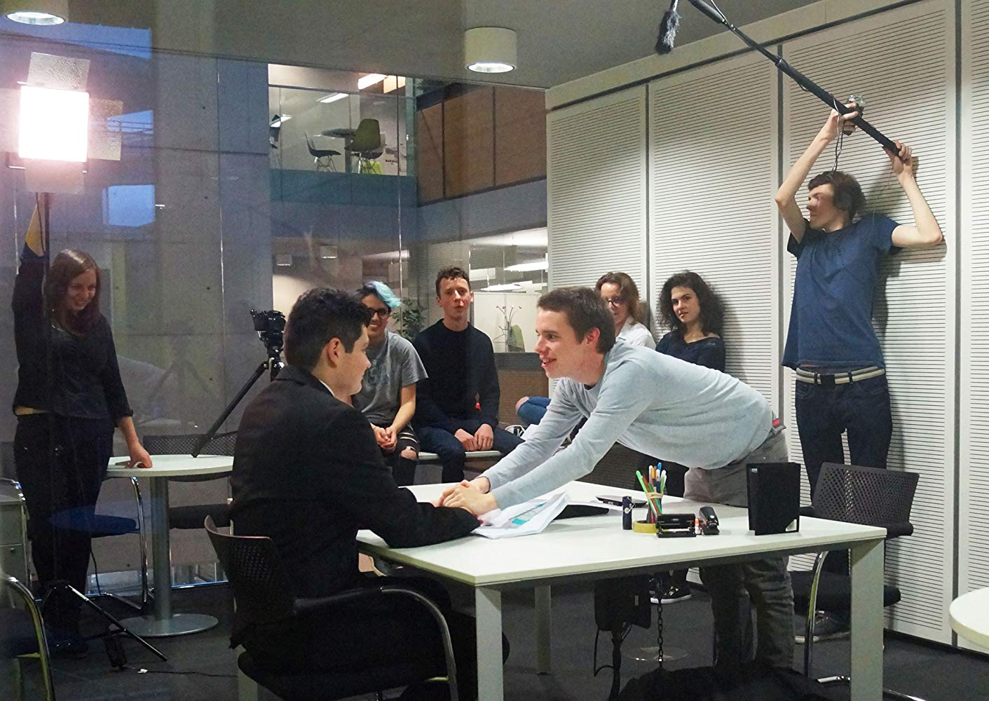 Behind the scenes image from LUFP student short film A Pointless Fraud