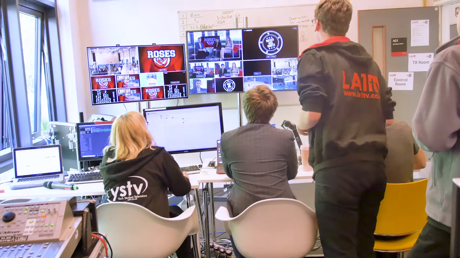 Still from documentary Student Media Roses Coverage shot in Lancaster University's LICA Building