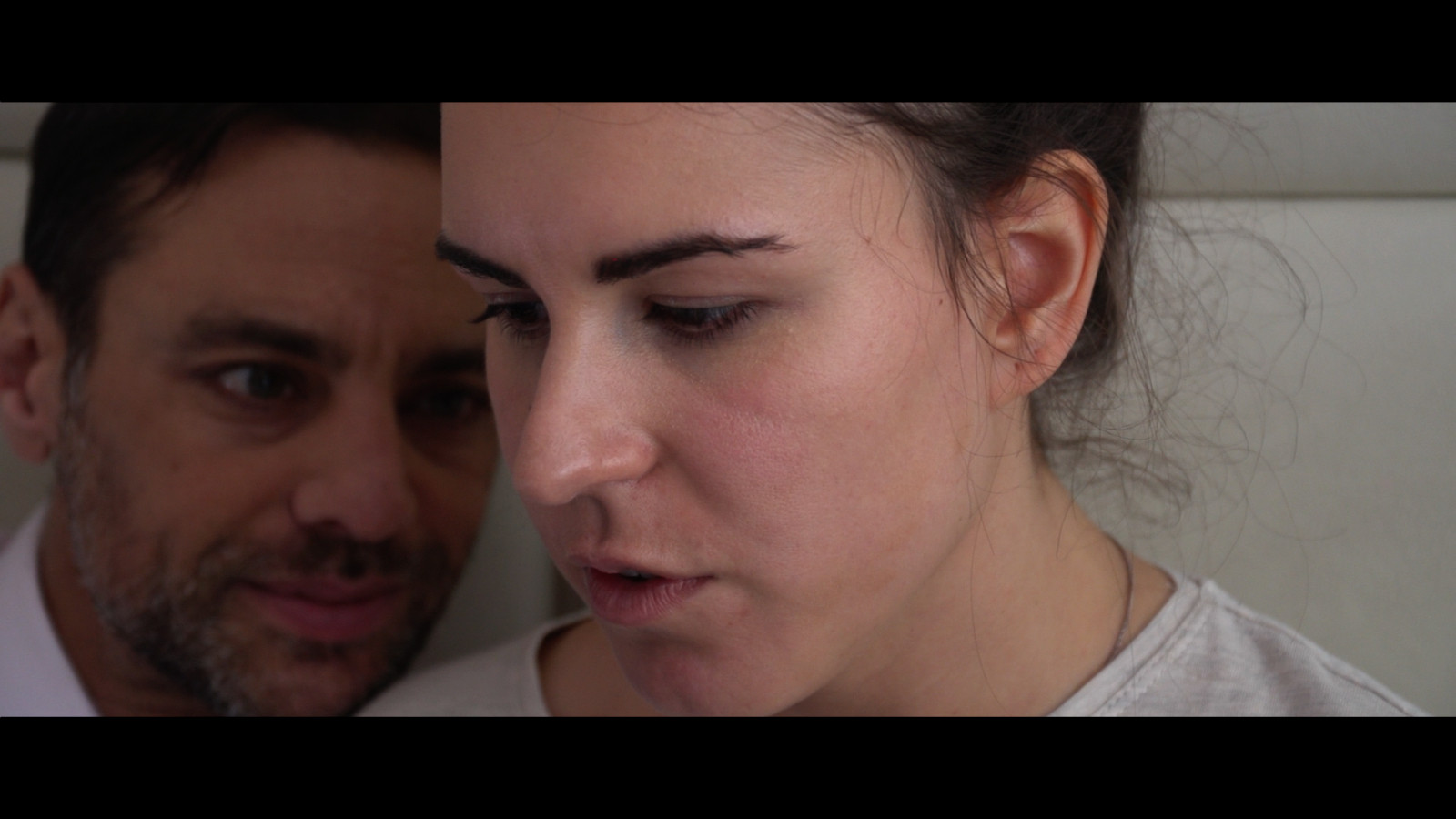 Still from short film Trapped featuring actors Gaia Poli and Malcolm Jeffries, forming part of Matthias' portfolio