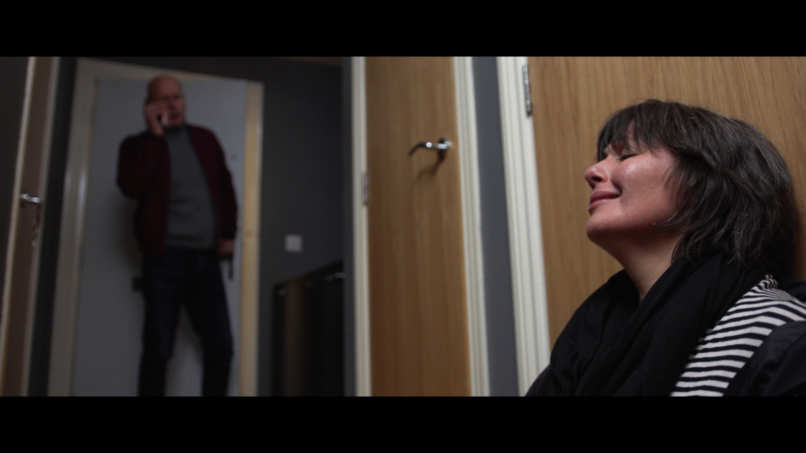 Still from Fresh Media Productions short film Trapped, featuring actors Anna Livingstone and Philip Gill