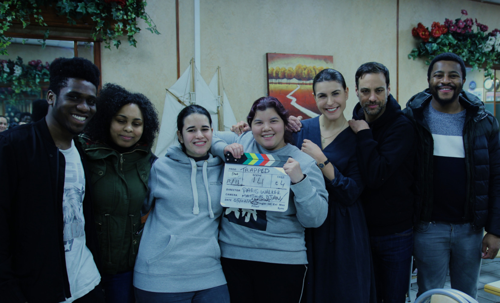 Behind the scenes cast and crew photo from Fresh Media Productions short film Trapped
