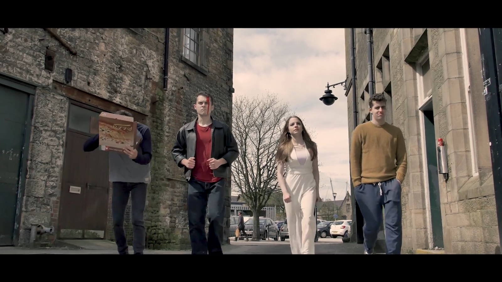 Still from LUFP short film Worst Case Scenario featuring actors, Kasia Bentkowska, Victor Pirvu and Olly Hill