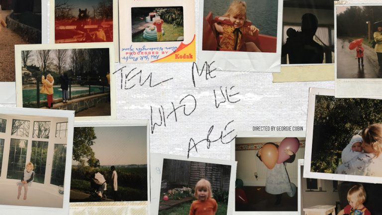 Collage of nostalgic Polaroid photos, with title Tell Me Who We Are hand written in the middle, the cover photo for Movement Films and Elk Medium's short film