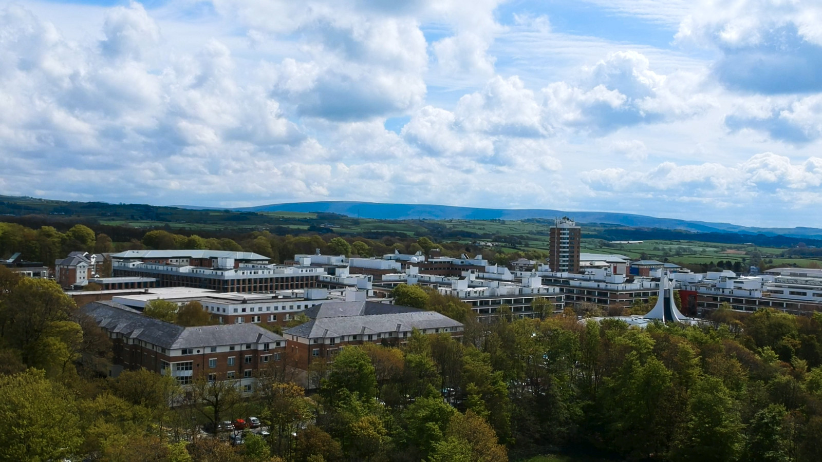 Still from documentary Student Media Roses Coverage of drone shot of Lancaster University campus