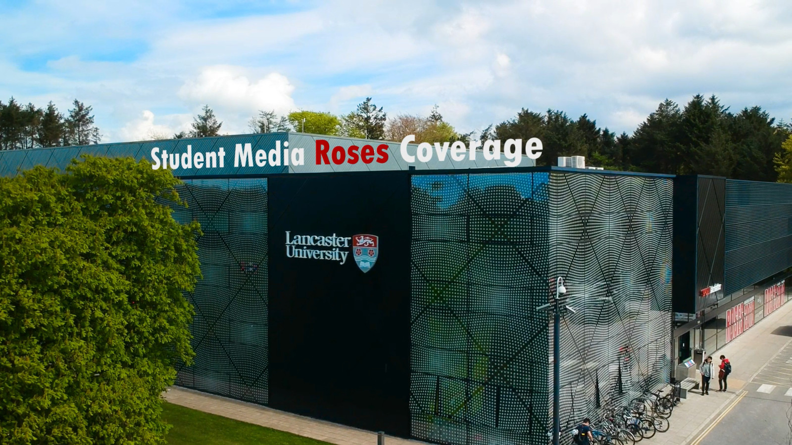 Still from documentary Student Media Roses Coverage of drone shot of Lancaster University Sports Centre