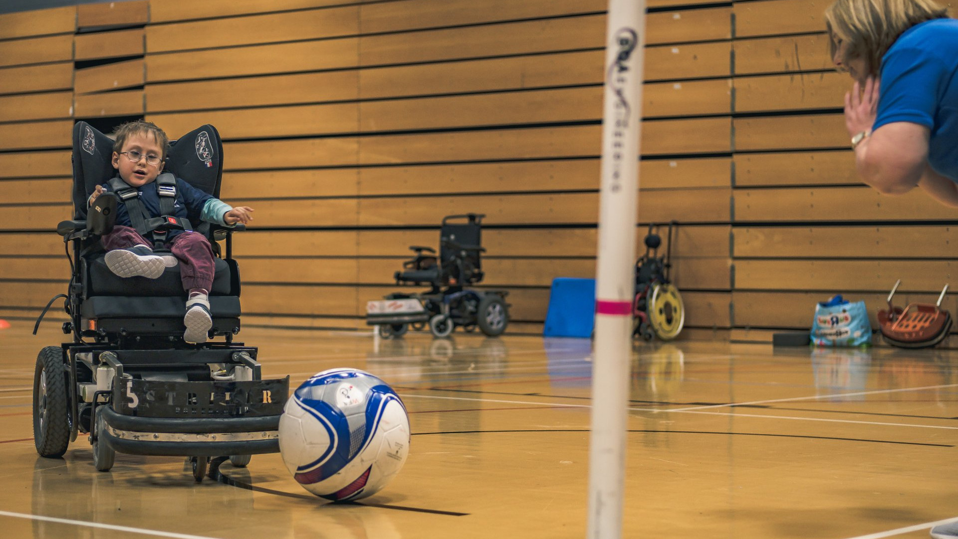 Photo of a power chair football session hosted by Goals Beyond Grass
