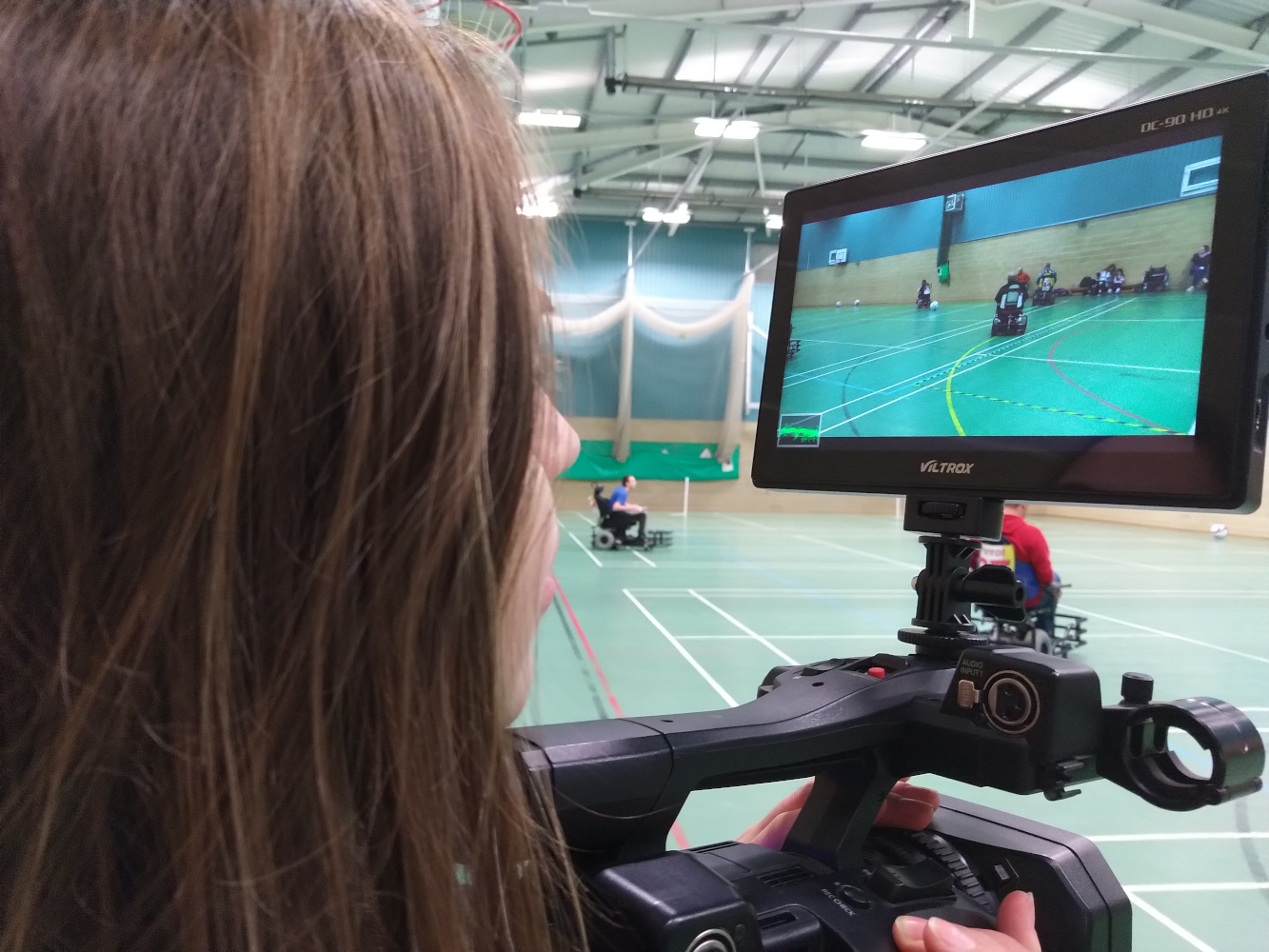 Behind the scenes photo from Movement Films narrative promo for Powerchair football