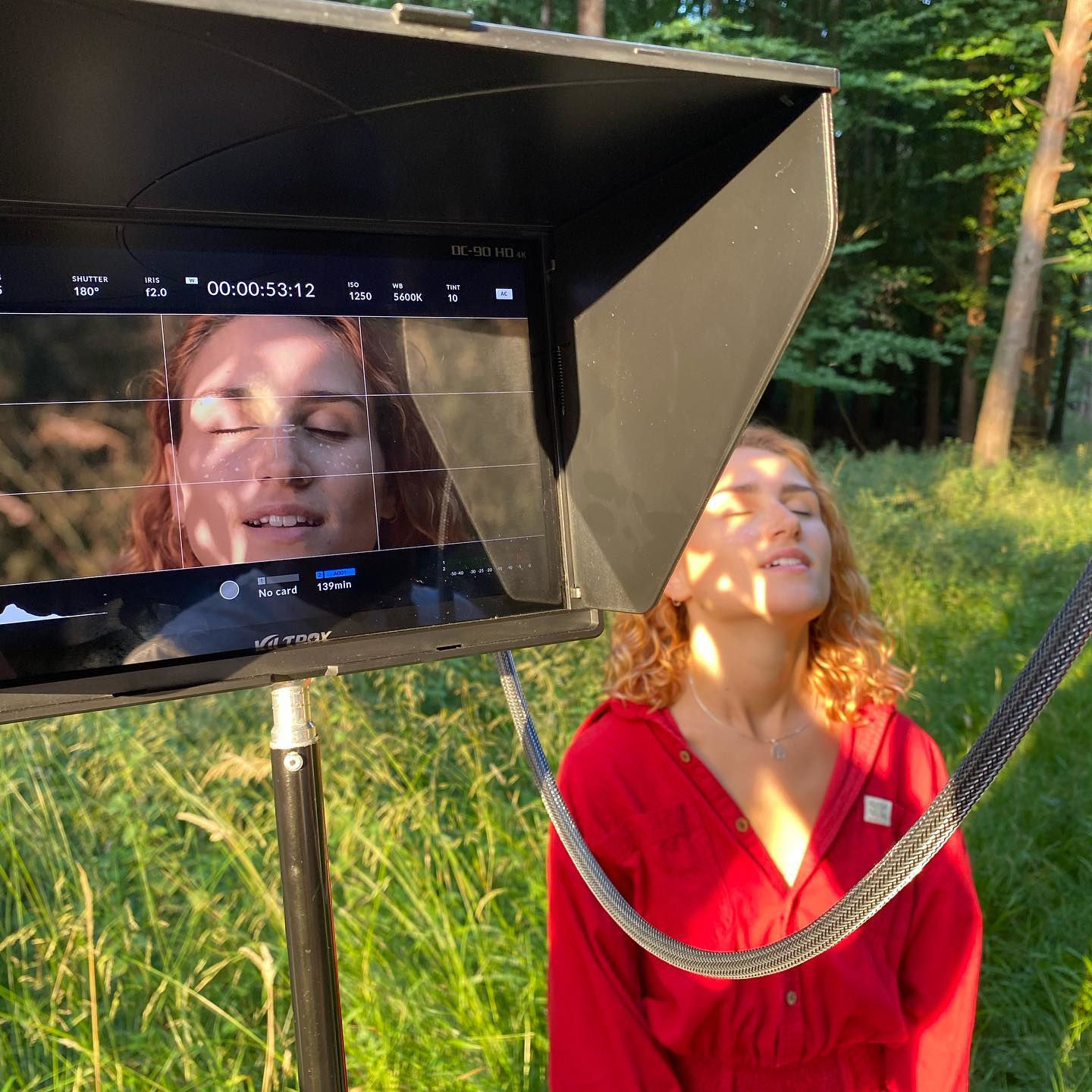 Behind the scenes image from short film Robyn with the Viltrox DC-90 HD 4K monitor on location