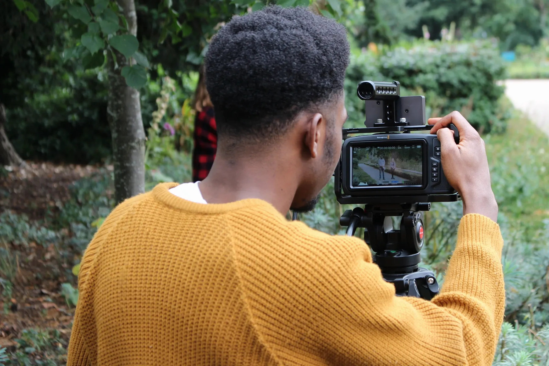 Behind the scenes from short film Fraudsters a Fresh Media Productions film, showing Director of Photography (DoP/DP) Matthias Djan operating on the Blackmagic Pocket Cinema Camera 4K as Cinematographer of the film