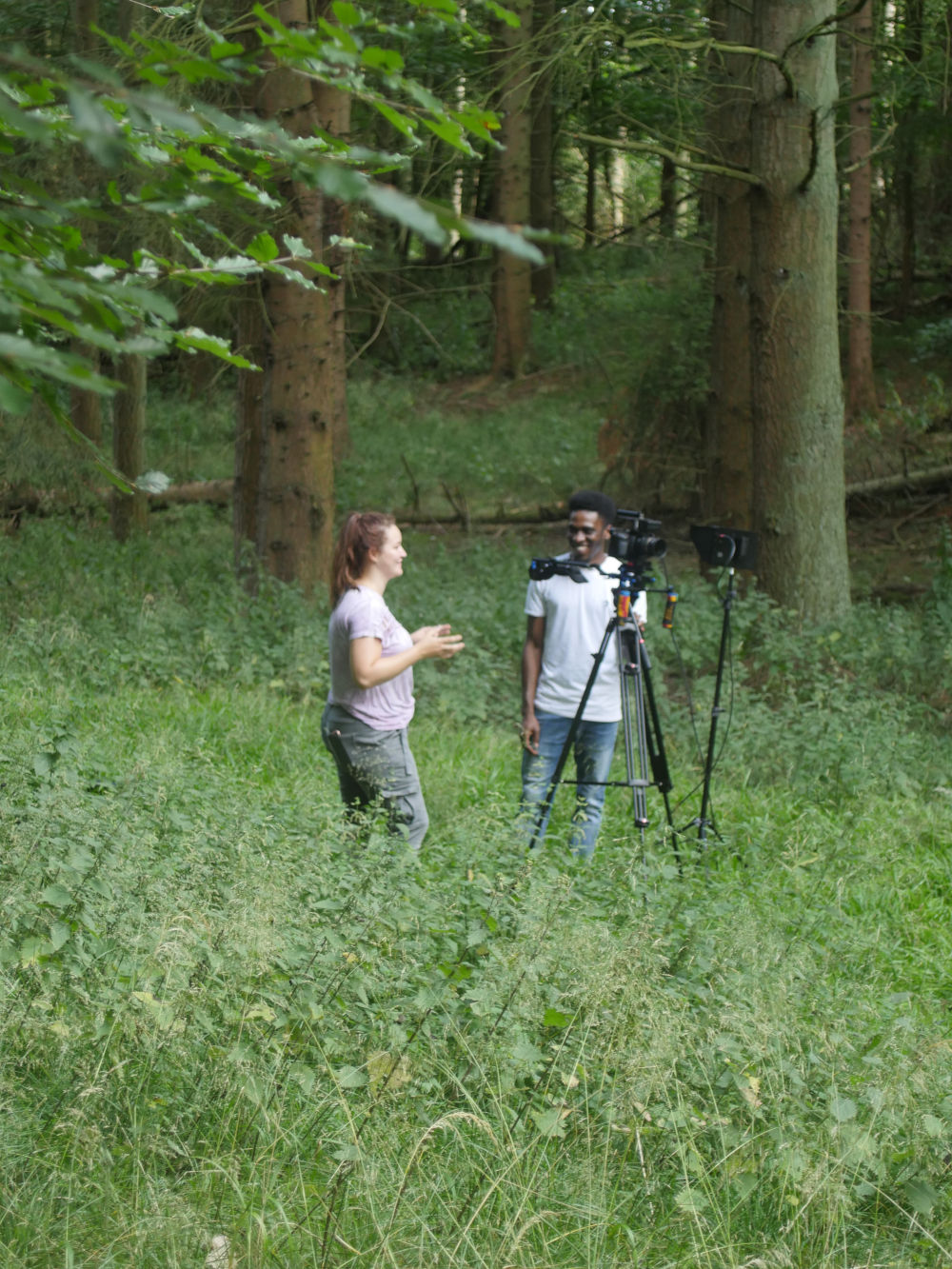 Behind the scenes image from short film Robyn showing cinematographer Matthias Djan and first ad Stephanie Ridge