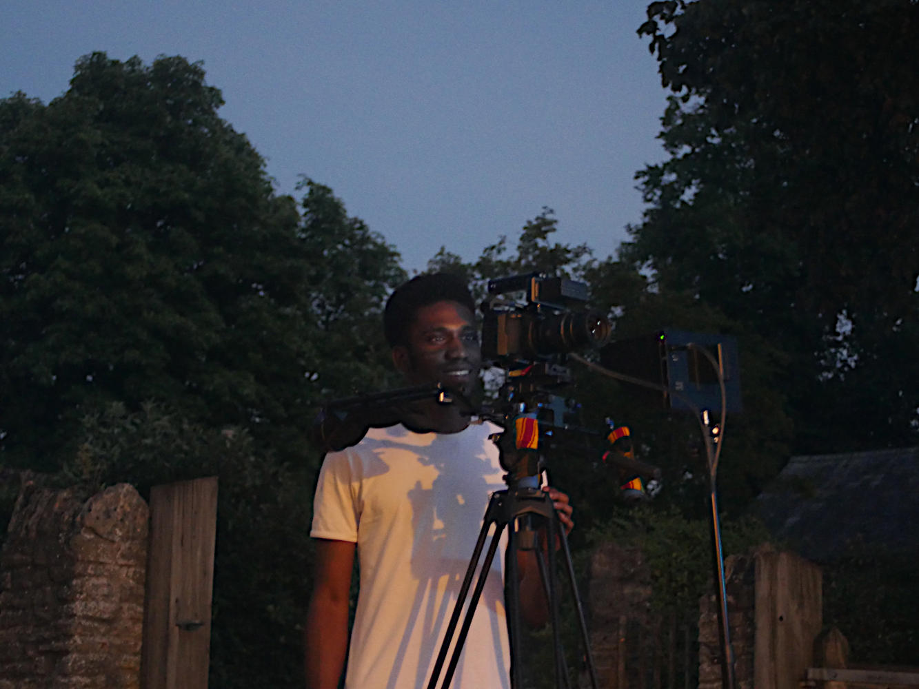 Behind the scenes image from short film Robyn during a night shoot