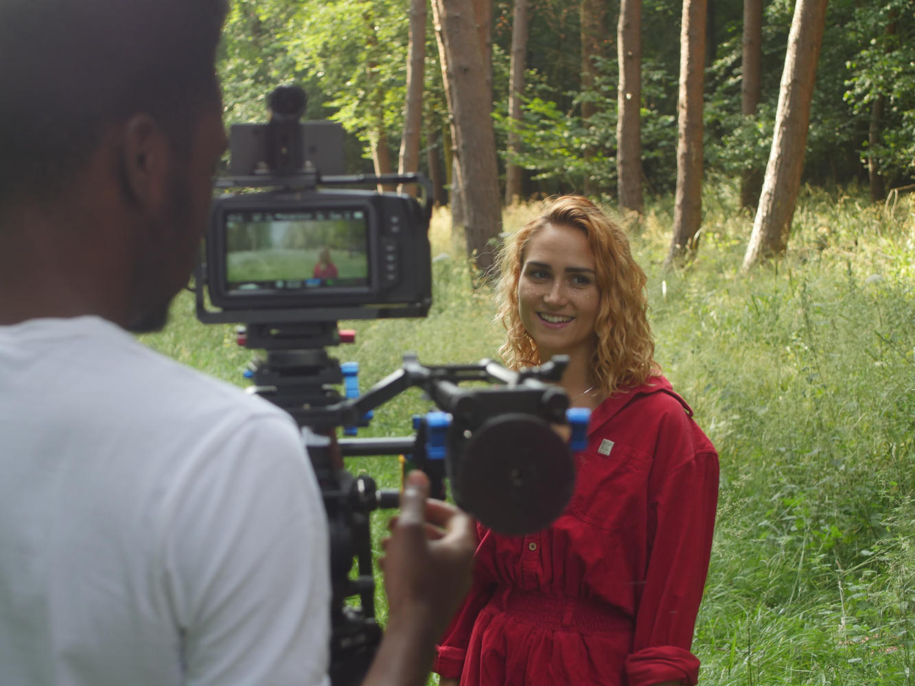 Behind the scenes image from short film Robyn of lead actor Amie Butler
