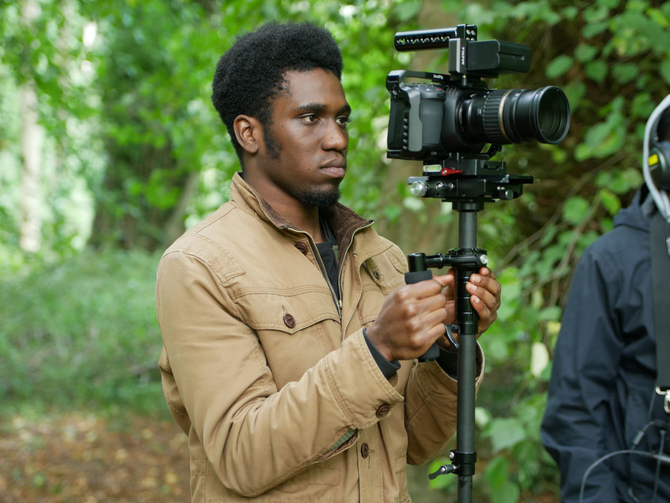Behind the scenes photo from Movement Films Sketch Sammy of DoP Matthias Djan steadicam operating as Cinematographer