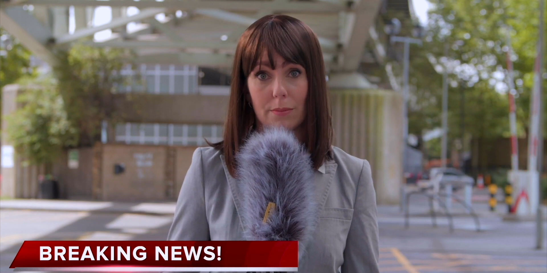 Still from short film Fraudsters' Trailer featuring Louise Monet, produced by Fresh Media Productions
