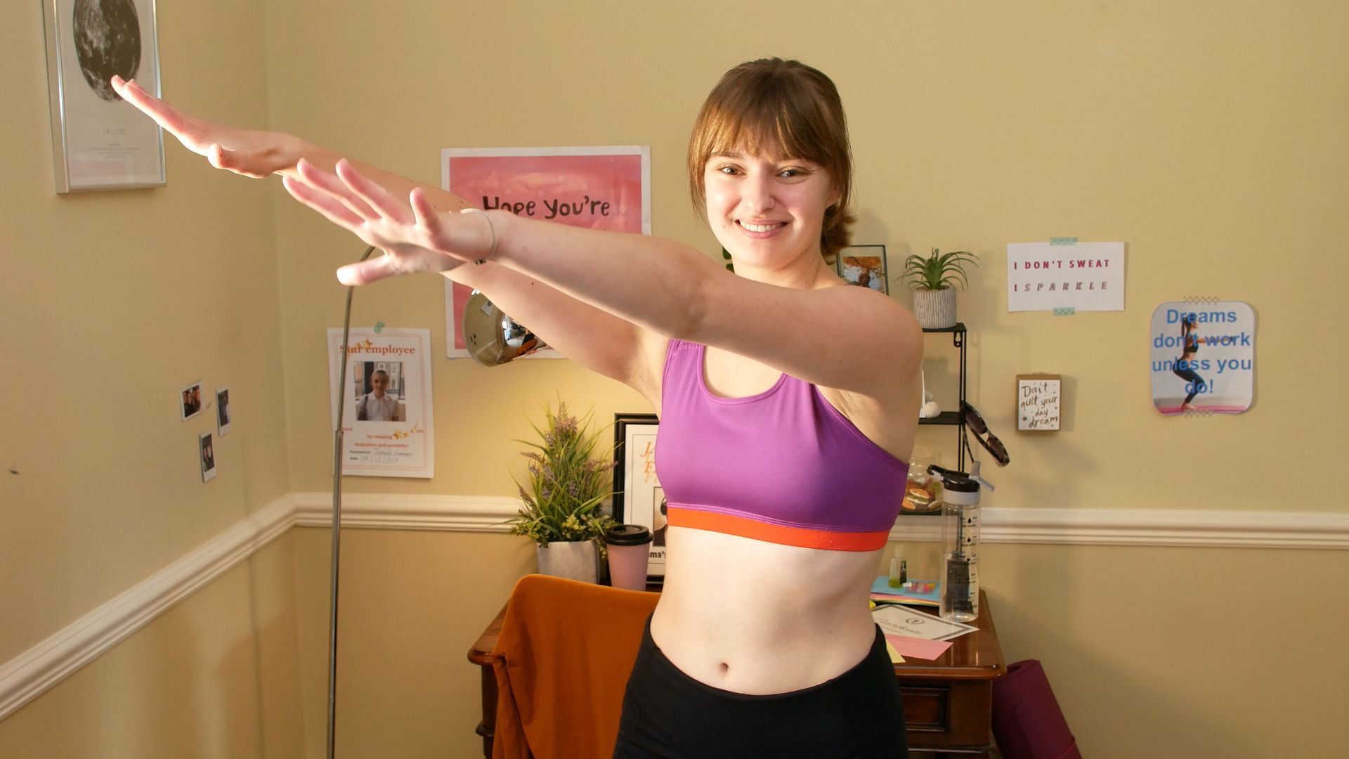 Still from short film Jargon Fitness, produced by Movement Films and Cardboard Moon Pictures showing actor Jess Balmer