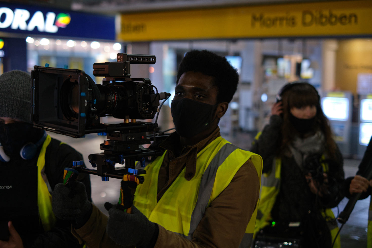 Behind the scenes image from Liam Calvert's Voyager short film of Director of Photography Matthias Djan