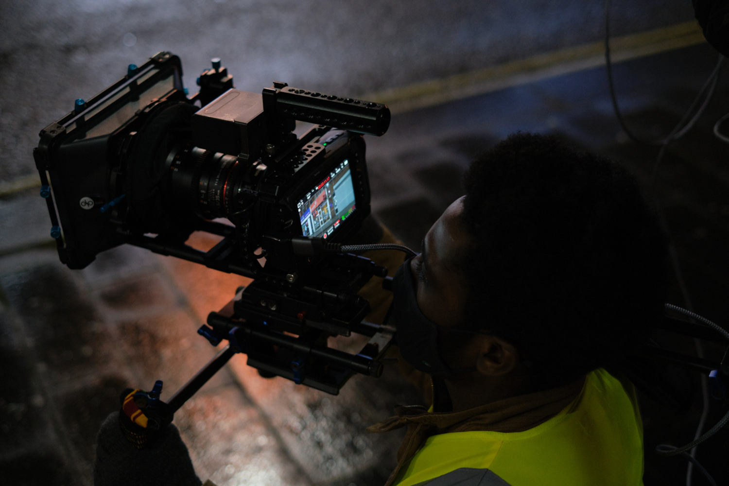 Behind the scenes image from Liam Calvert's Voyager short film of Director of Photography Matthias Djan shooting on a shoulder rig