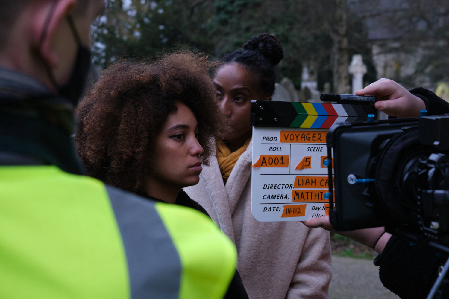 Behind the scenes image from Liam Calvert's Voyager short film showing Sophie Delora Jones and Fredericka Charles taken by Matt Towers