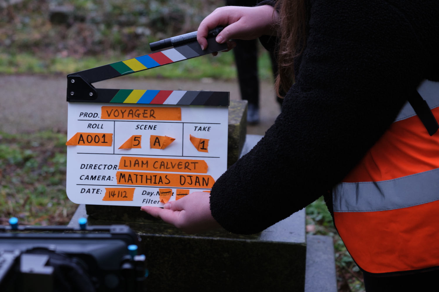Behind the scenes image from Liam Calvert's Voyager short film showing the slate clapperboard