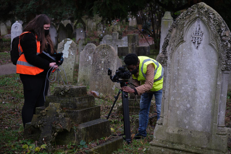 Behind the scenes image from Liam Calvert's Voyager short film of DP Matthias Djan