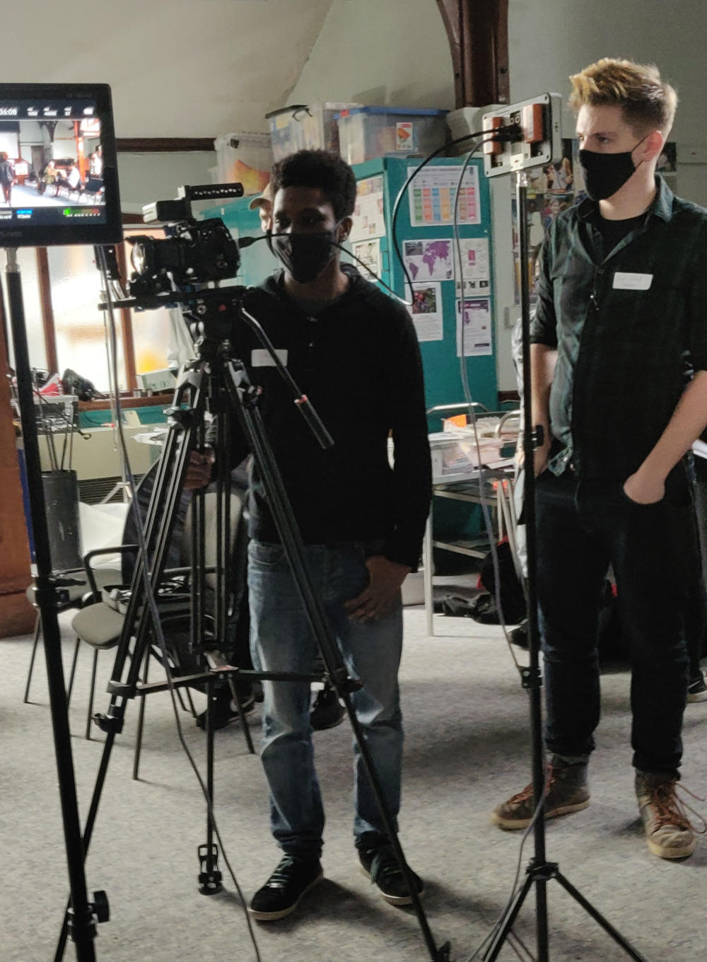 Behind the scenes image from Voyager sci-fi film with Director Liam Calvert and DoP Matthias Djan