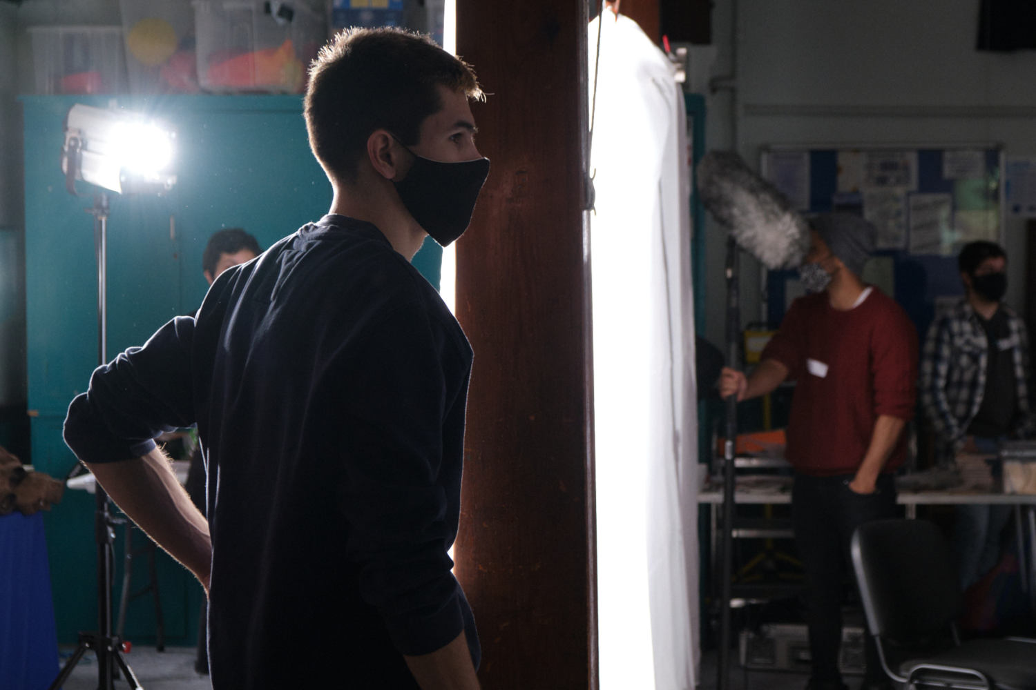 Behind the scenes image from Liam Calvert's Voyager short film of 1st AC Tom Filipe