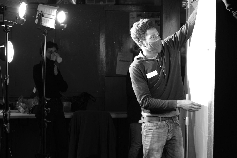 Behind the scenes image from Liam Calvert's Voyager short film of cinematographer Matthias Djan, taken by Matt Towers