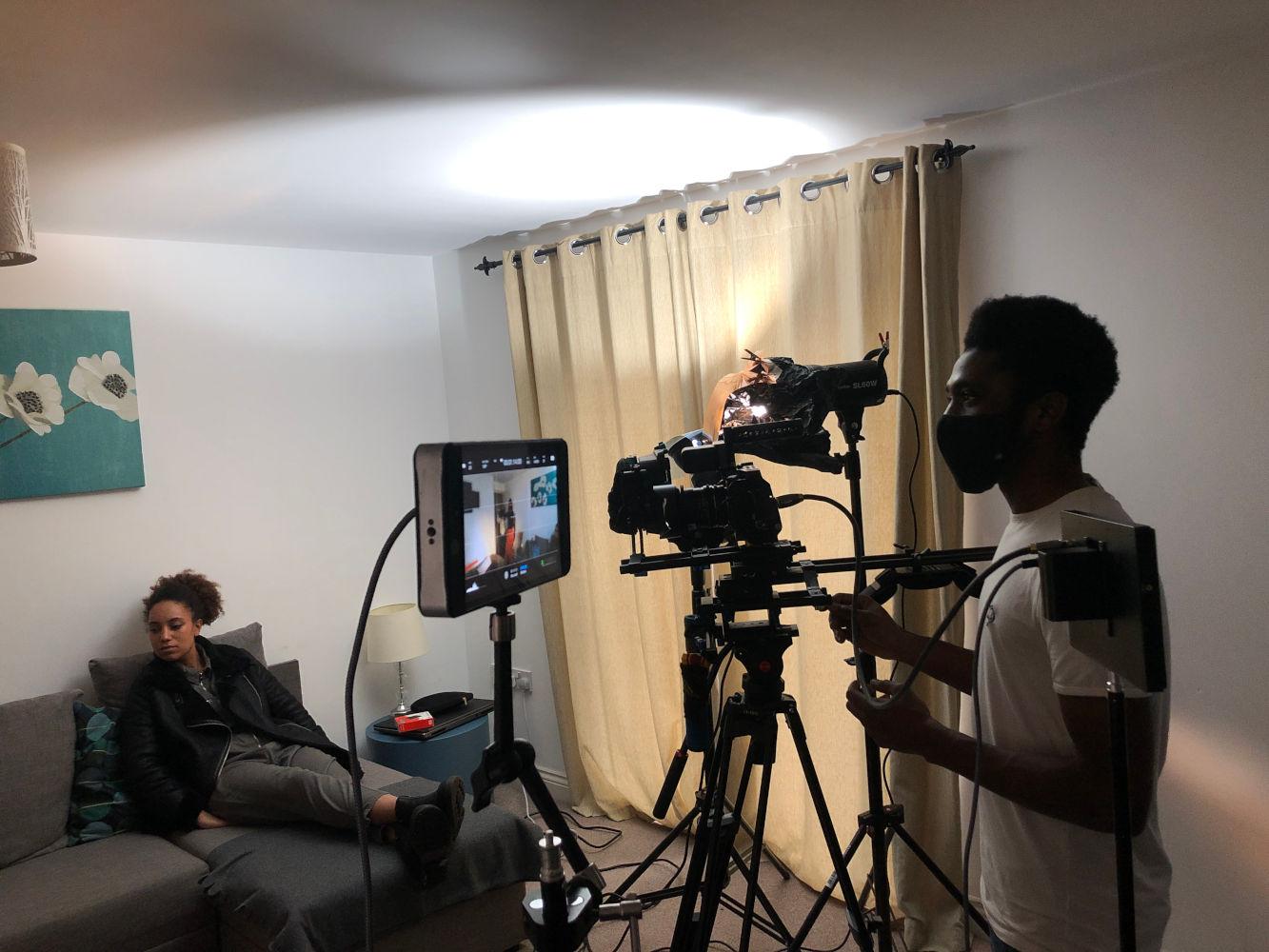 Behind the scenes image from Liam Calvert's Voyager short film of DoP Matthias Djan