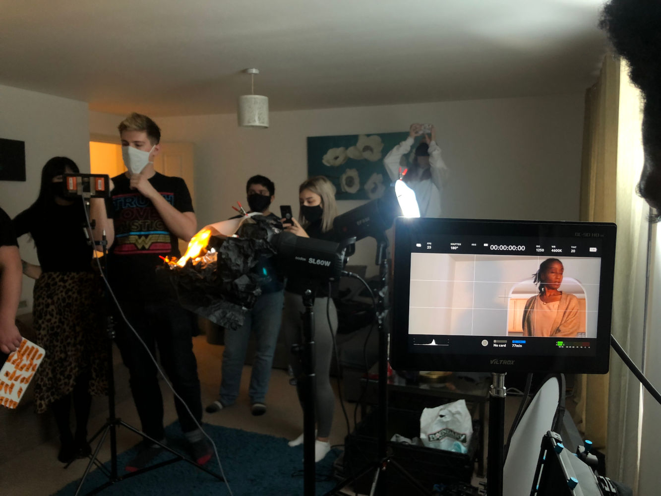 Behind the scenes image from Liam Calvert's Voyager short film with Fredericka Charles
