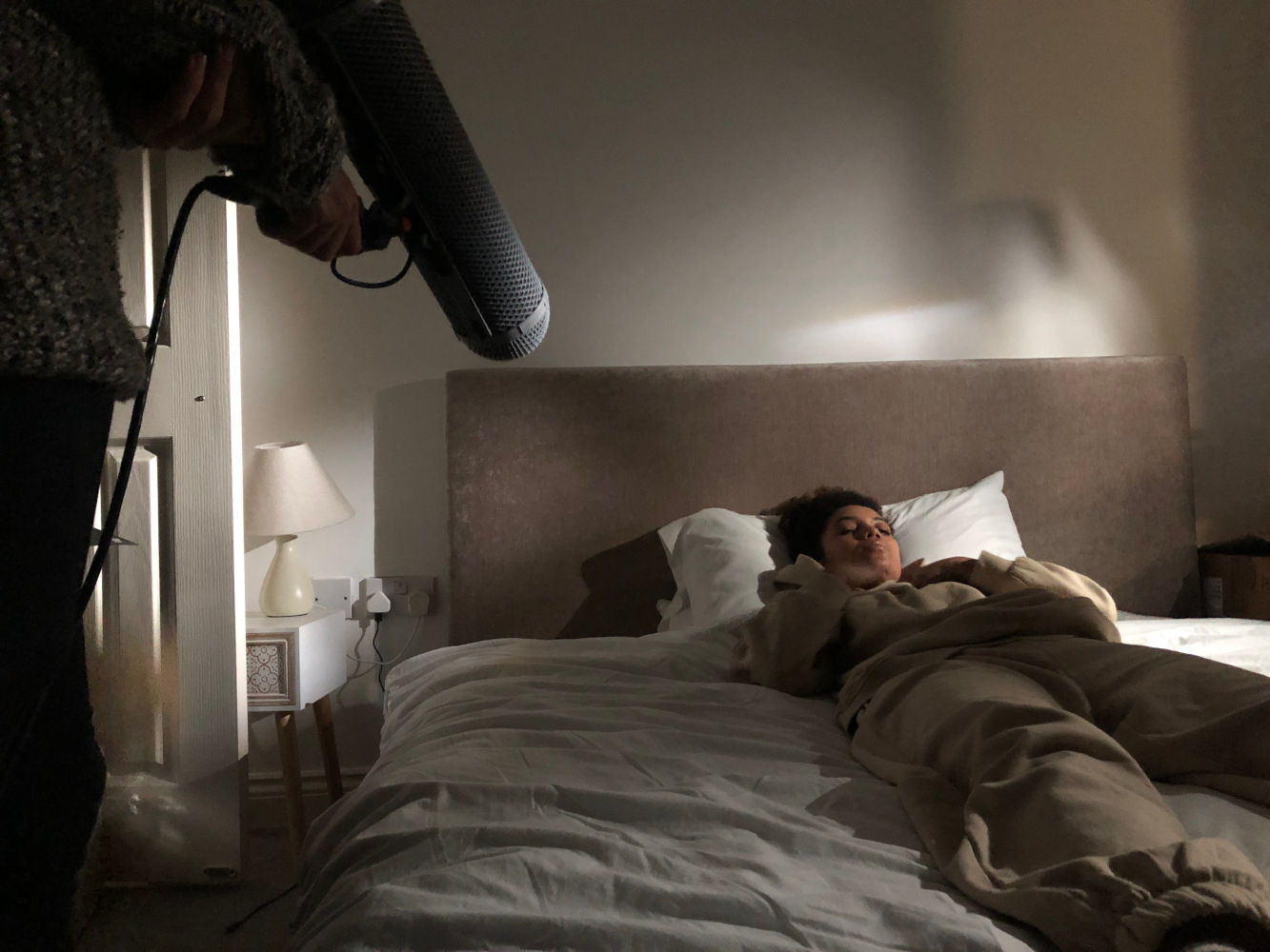 Behind the scenes image from Liam Calvert's Voyager short film with a microphone blimp in shot