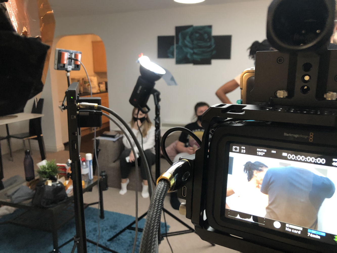 Behind the scenes image from Liam Calvert's Voyager short film, being filmed on the BMPCC4K