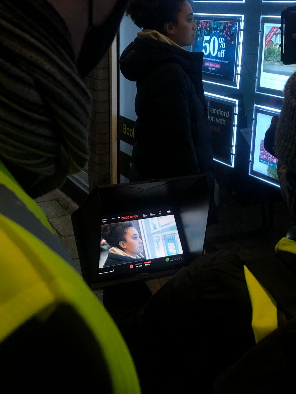 Behind the scenes image from Liam Calvert's Voyager short film. We see actor Sophie Delora Jones