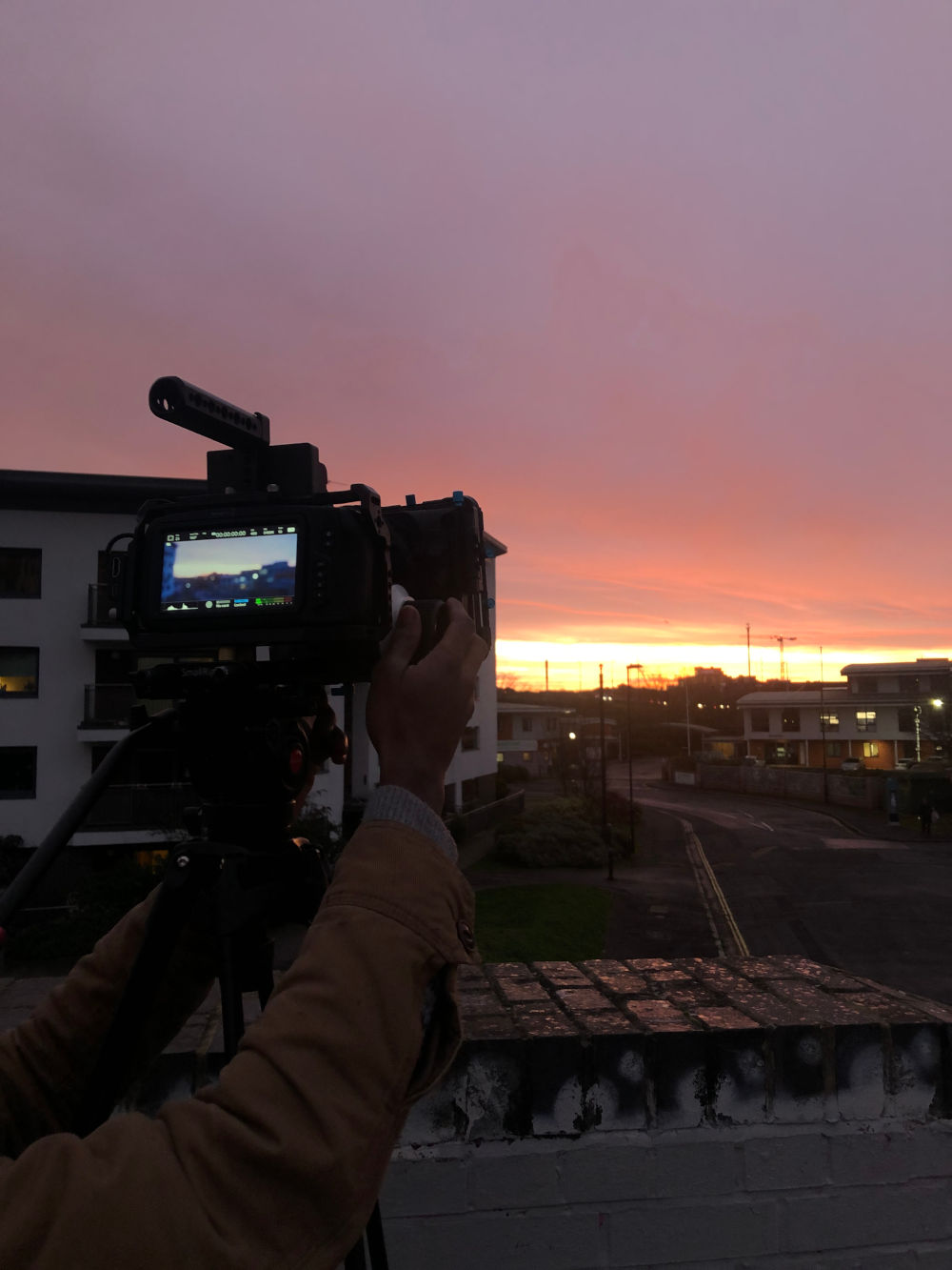 Behind the scenes image from Liam Calvert's Voyager. We see a sunrise shot on the Blackmagic Pocket Cinema Camera 4K