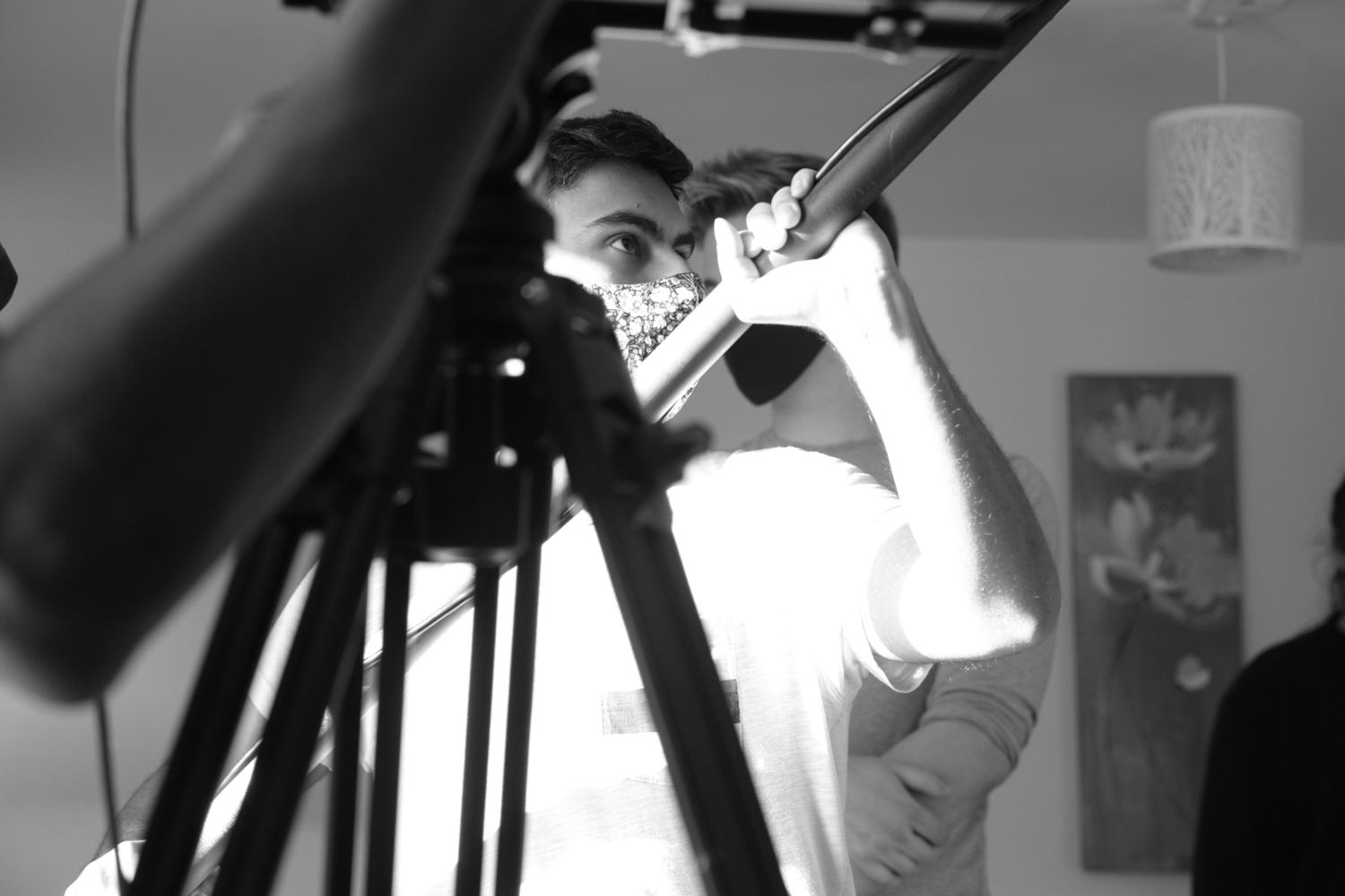 Behind the scenes image from Voyager sci-fi film of sound recordist Aarif Chumbers-Ali taken by Matt Towers