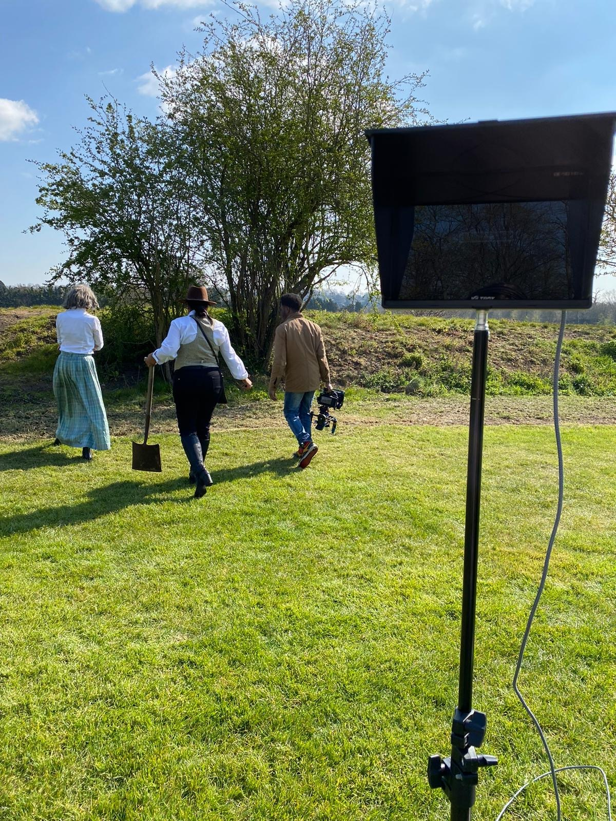 Behind the scenes photo from short film The Mound, a spoof film of The Dig