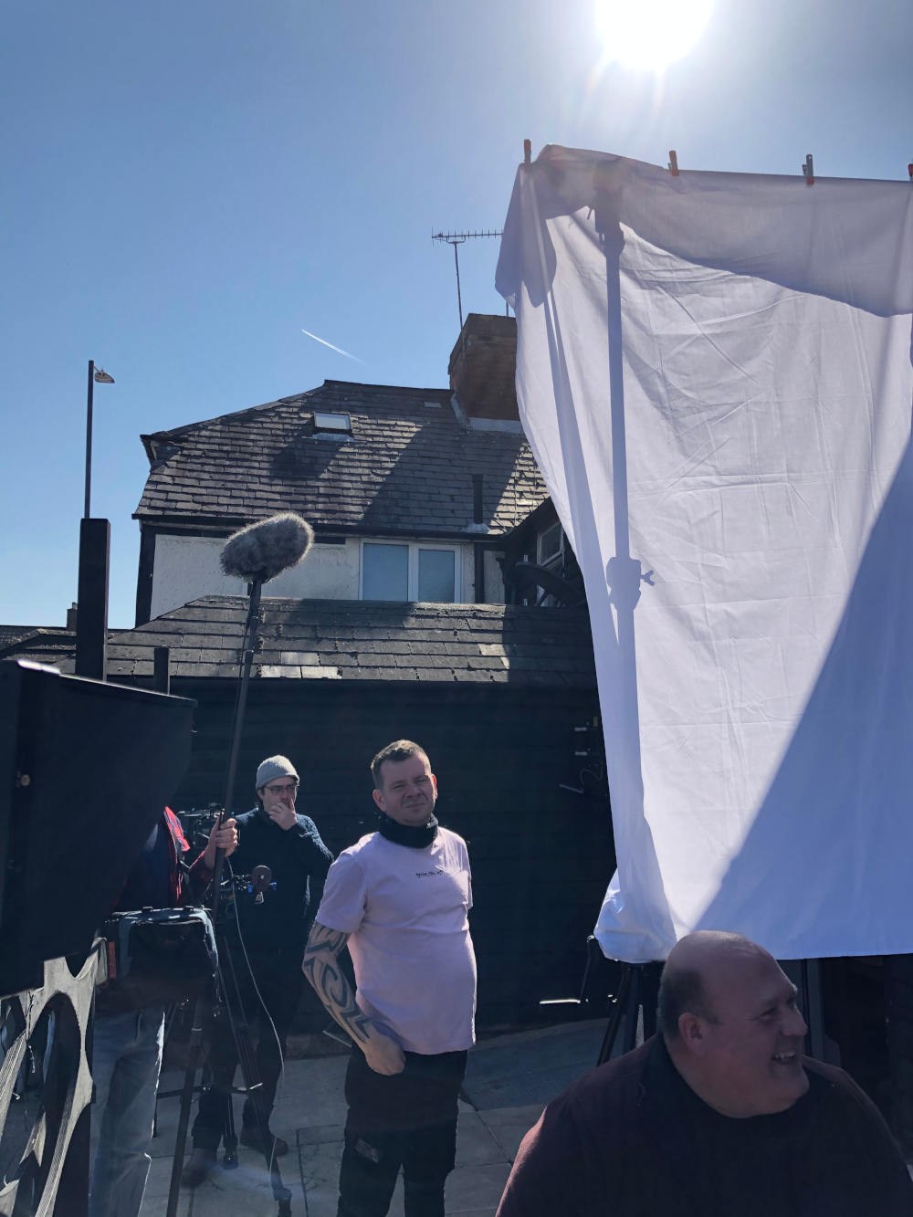 Behind the scenes photo from short film True Purpose set in a pub