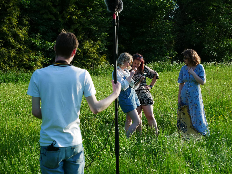 Behind the scenes photo of UK filming
