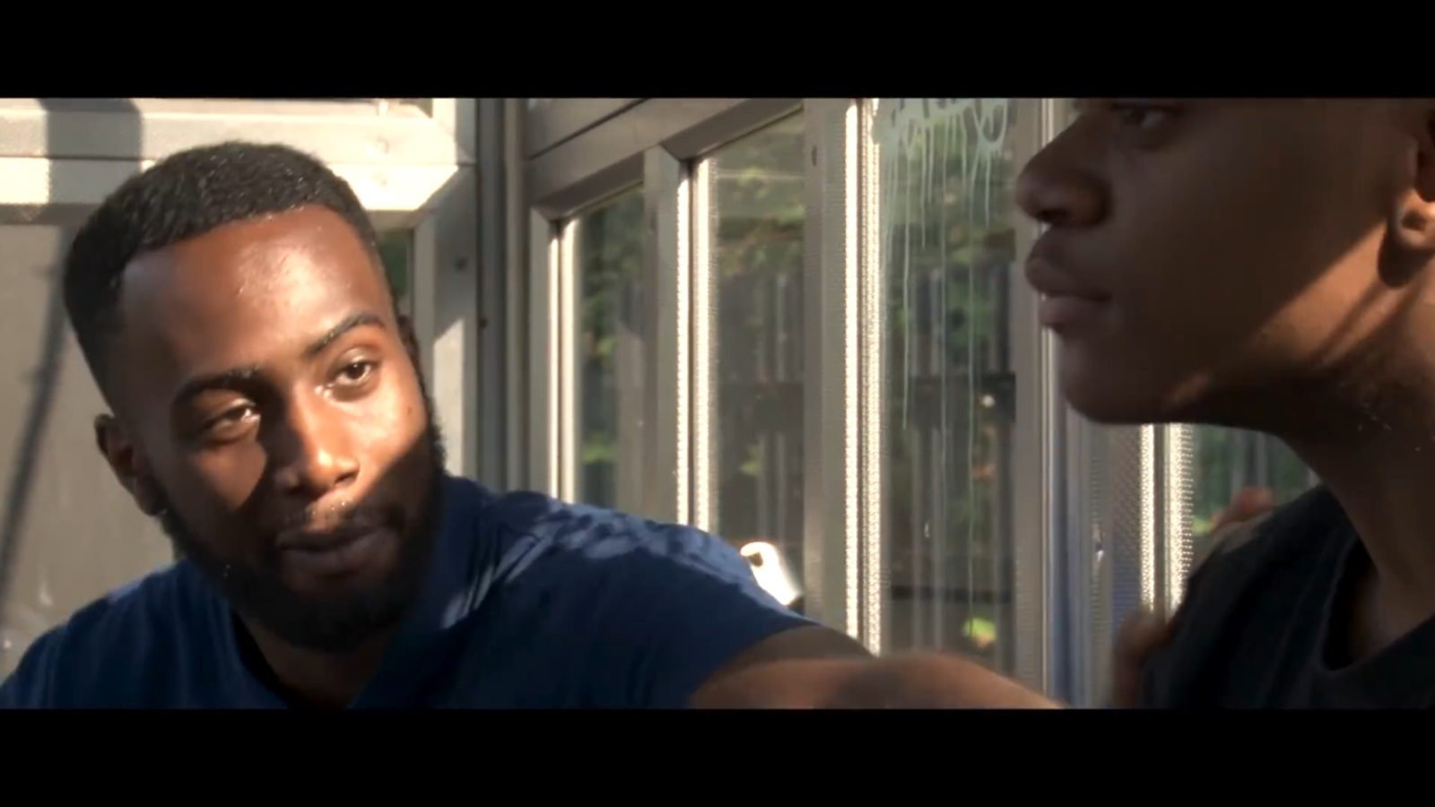 Still from Beat N' Delete short film containing actors Rashaun Wayne and Joe Bikuta
